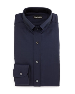 Button-Down Collar Solid Shirt by Tom Ford	 in Rosewood