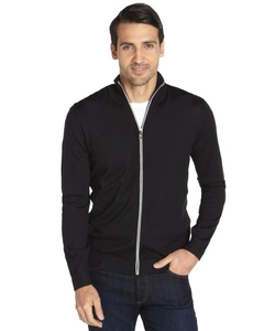 Black Wool Zip Front Cardigan by Boss Hugo Boss in Mr. & Mrs. Smith