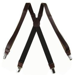 Brown Dress Leather Suspenders by The Perfect Necktie in Unbroken