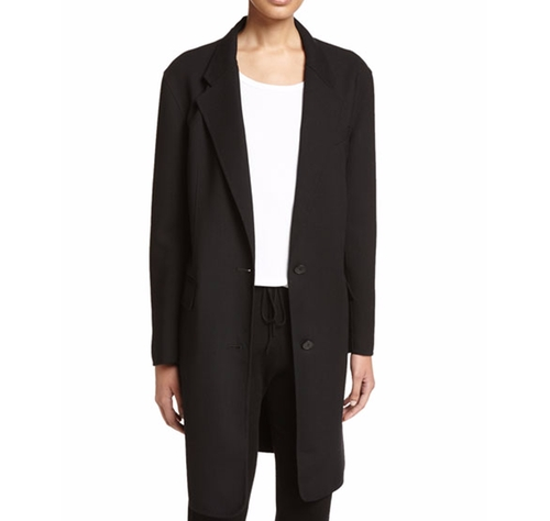 Long Tailored Wool-Blend Coat by DKNY in The Good Wife - Season 7 Episode 21