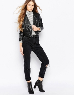 Cropped Leather Biker Jacket by Barney's Originals in A Bigger Splash