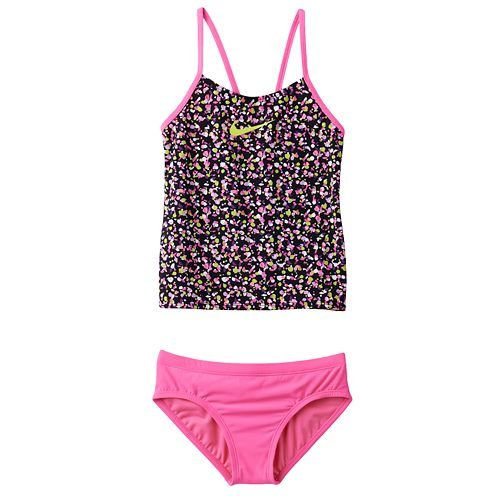 Pixel Party Tankini Swimsuit by Nike in Black or White
