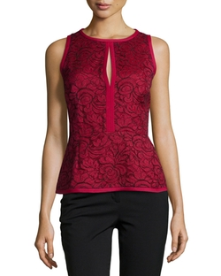 Sleeveless Keyhole Lace Peplum Top by J. Mendel in Nashville