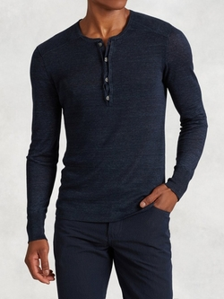 Linen Henley Shirt by John Varvatos in The Flash