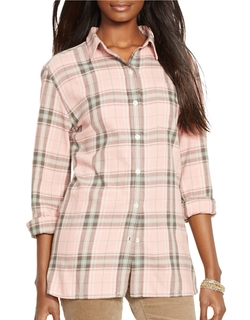 Petite Plaid Twill Boyfriend Shirt by Lauren Ralph Lauren in Neighbors 2: Sorority Rising