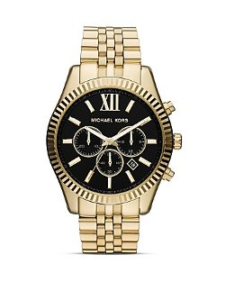 Gold Tone Lexington Chronograph Watch by Michael Kors in Contraband