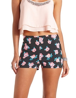 Floral Printed High-waisted Shorts by Charlotte Russe in Neighbors
