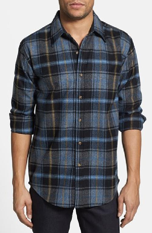 'Lodge' Fitted Plaid Wool Flannel Shirt by Pendleton in Oculus