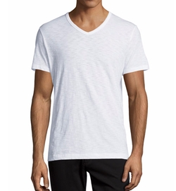 Slub Jersey V-Neck T-Shirt by Vince in Rosewood