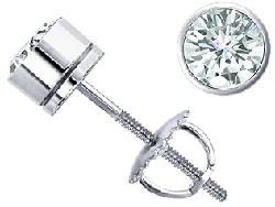 14k White Gold Bezel-Set Diamond Stud Earrings by Jewelry Central in Oculus