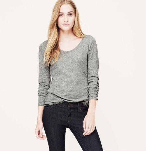 Scoop Neck Long Sleeve Tee by Loft in The Wolverine