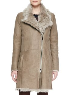Asymmetric Shearling Fur Coat by Vince in The Boy Next Door