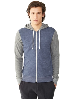 Rocky Color-Block Eco-Fleece Zip Hoodie by Alternative in The Fundamentals of Caring