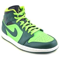 Air Jordan 1 Mid Mens Green Leather Basketball Shoes by Nike in Neighbors