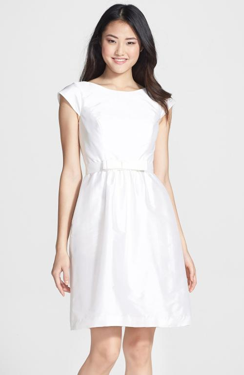 Bow Detail Satin Fit & Flare Dress by Alfred Sung in Laggies