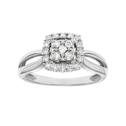Diamond Square Halo Engagement Ring by Cherish Always in Ballers