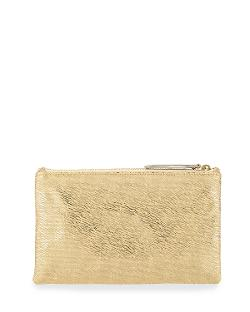 Medium Zip-Top Metallic Clutch, Pale Gold by Lauren Merkin in The Other Woman