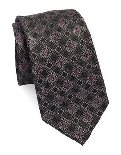Silk Diamond Print Tie by Black Brown 1826 in Billions