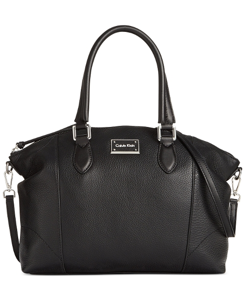 Addie Pebble Satchel Bag by Calvin Klein in Barely Lethal