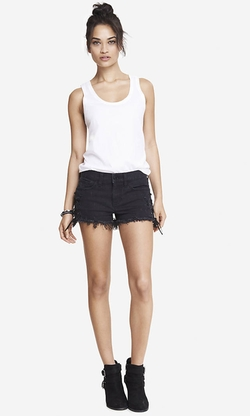 Mid Rise Lace-Up Denim Shorts by Express in Pretty Little Liars
