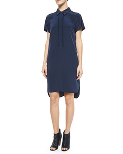Half-Placket Short-Sleeve Shirtdress by Vince	 in The Longest Ride