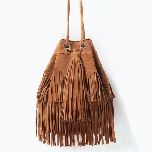 Fringed Suede Bucket Bag by Zara in Pretty Little Liars - Season 6 Episode 17
