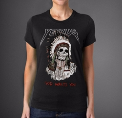 Red Indian Skeleton Yeezus Tour T-Shirt by Kanye West in Keeping Up With The Kardashians