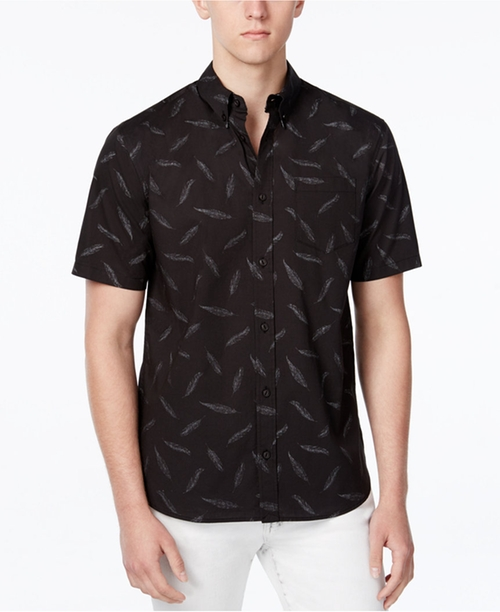 Men's Feather-Print Short-Sleeve Shirt by WHT Space in Pretty Little Liars - Season 7 Episode 6
