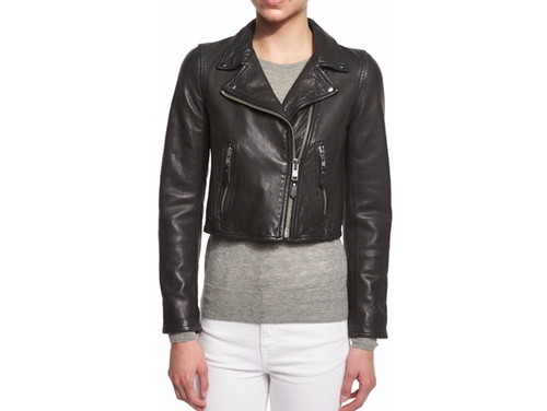 Barry Cropped Leather Moto Jacket by Etoile Isabel Marant in Pretty Little Liars - Season 7 Episode 4