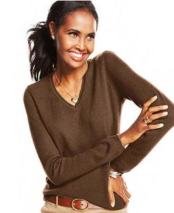 Cashmere Long-Sleeve V-Neck Sweater by Charter Club in Prisoners