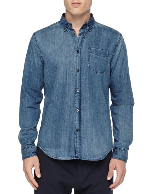 Denim Button-Down Shirt by Vince in That Awkward Moment