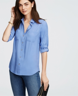 Silky Camp Shirt by Ann Taylor in Supergirl