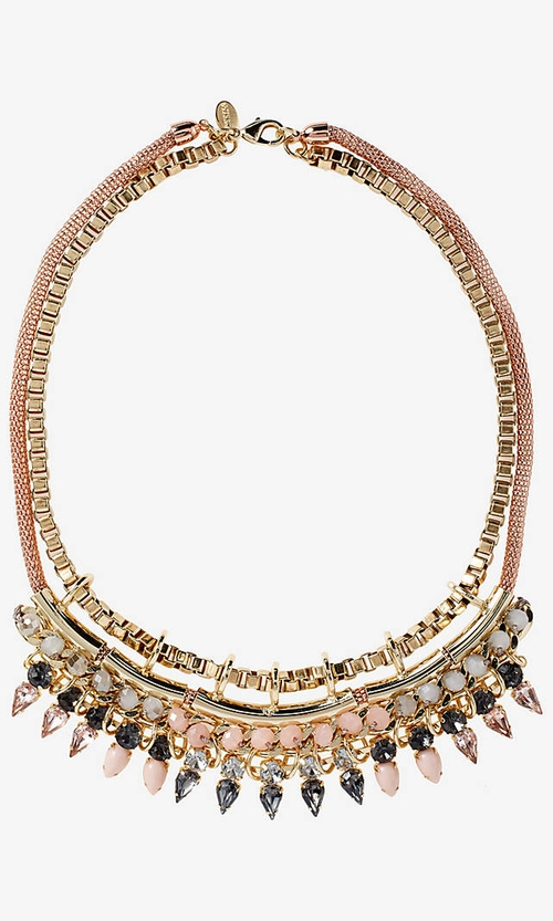 Layered Teardrop Stones and Chain Necklace by Express in Sleeping with Other People