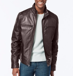 Hipster Leather Jacket by Michael Kors in Nightcrawler