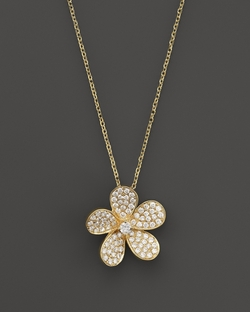 Diamond Flower Pendant Necklace by Kc Designs in Sex and the City