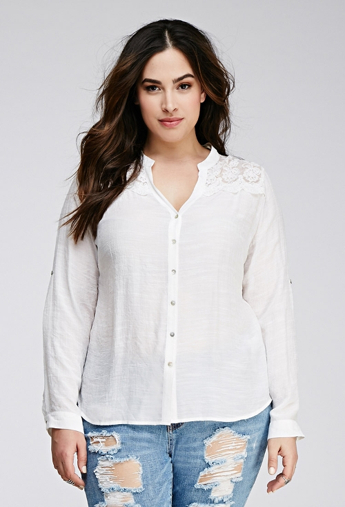 Embroidered Mesh Gauze Blouse by Forever 21 in No Escape