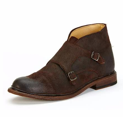 William 'Penny' Adiyodi's Brown Frye Jack Monk-Strap Suede