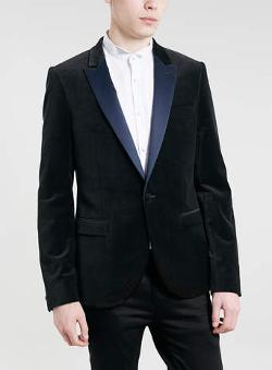 BLACK VELVET NAVY SATIN LAPEL BLAZER by TOPMAN in About Last Night