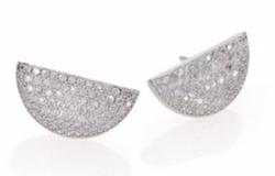 Pavé Half-Moon Stud Earrings by Adriana Orsini  in Lady Dynamite