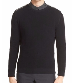 Zip Shoulder Cotton Crewneck Sweater by The Kooples in Empire