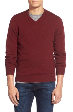 Mélange Knit Merino Wool & Cashmere Sweater by 1901 in Arrow