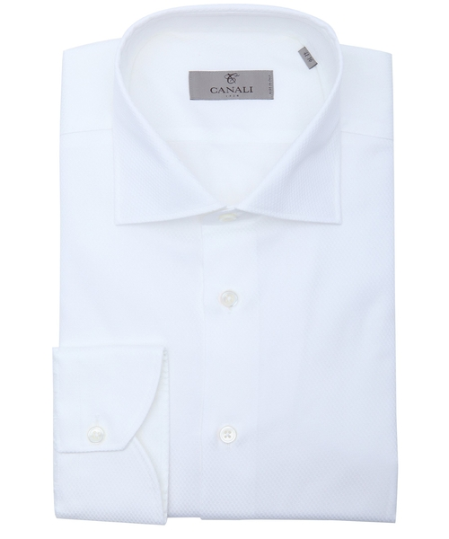 White Cotton Button Down Spread Collar Dress Shirt by Canali in The Flash