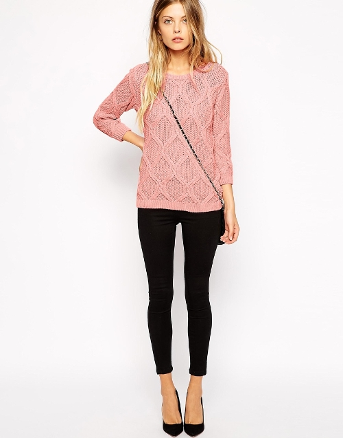 Vila Cable Knit Crew Neck Sweater by Asos in Sinister 2