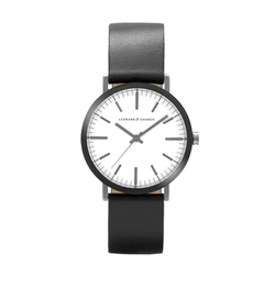 Thompson Leather Strap Watch by Leonard & Church in Black Panther