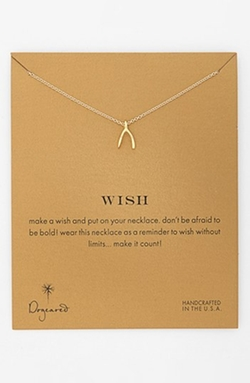 'Reminder - Wish' Wishbone Pendant Necklace by Dogeared in Sisters