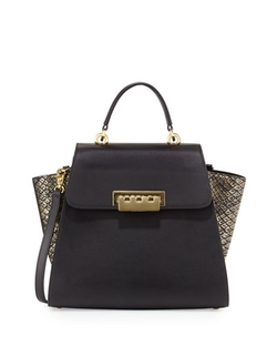 Colorblock Leather Tote Bag by Zac Zac Posen in Scandal