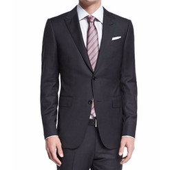 Textured Solid Two-Piece Suit by Ermenegildo Zegna  in Empire