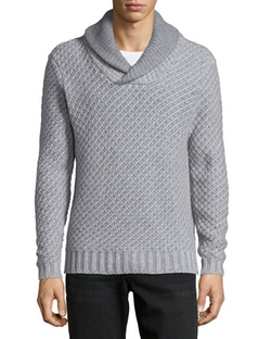 Shawl-Collar Textured Cashmere Pullover Sweater, Gray by Neiman Marcus in Krampus