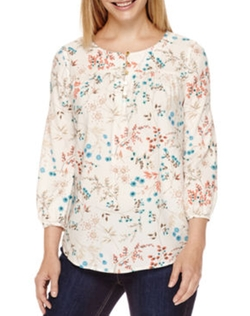 Floral-Print Henley Blouse by St. John's Bay in The Boss