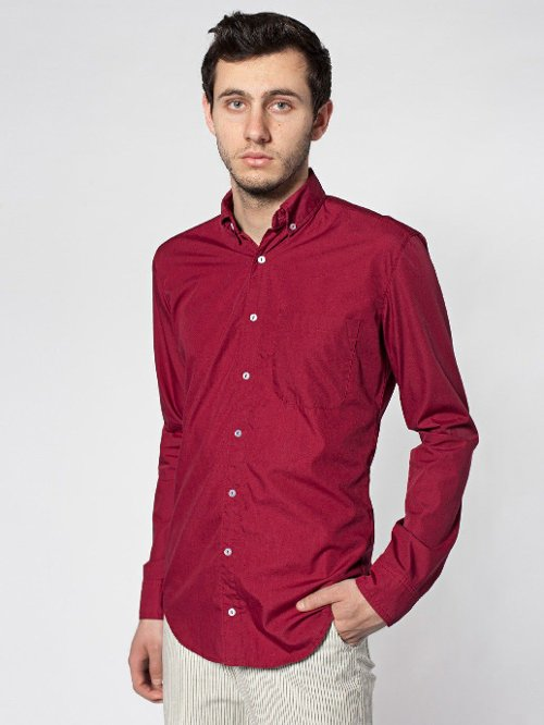 Poplin Long Sleeve Button-Down Shirt by American Apparel in Get Hard